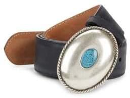 Paul Stuart Oval Jade Buckle Slide Leather Belt