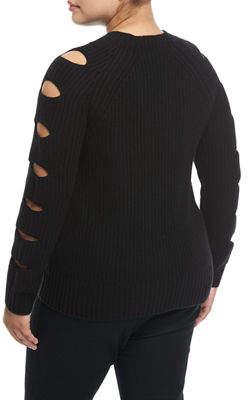 Neiman Marcus Plus Cashmere Ladder-Sleeve Sweater