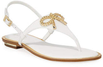 MICHAEL Michael Kors Posey Flat Metallic Bow Sandals