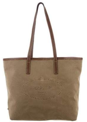 Prada Leather-Trimmed Canvas Tote