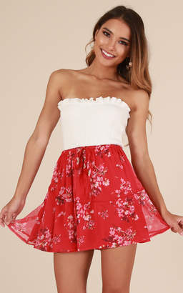 Showpo Dream Keeper skirt in red floral - 20 (XXXXL) Sale Skirts