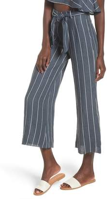 Faithfull The Brand Como Pinstripe Wide Leg Crop Linen Pants
