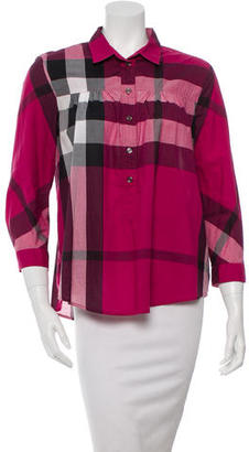 Burberry Brit Nova Check Print Woven Top $85 thestylecure.com
