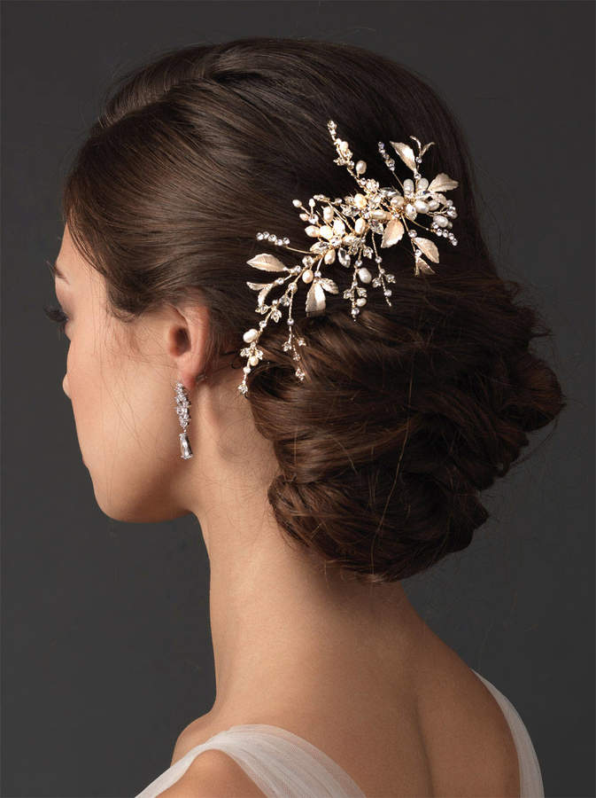 Etsy Floral Side Hair Comb, Wedding Flower Comb, Rhinestone Crystal Comb, Pearl Floral Wedding Comb, Brid
