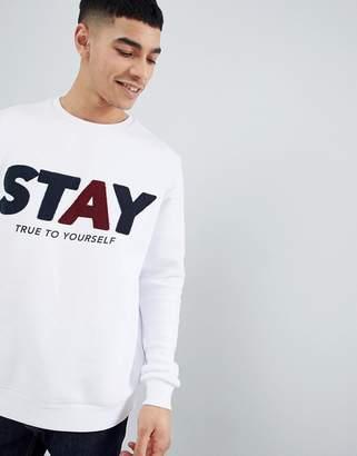 Bershka Slogan Sweatshirt In White