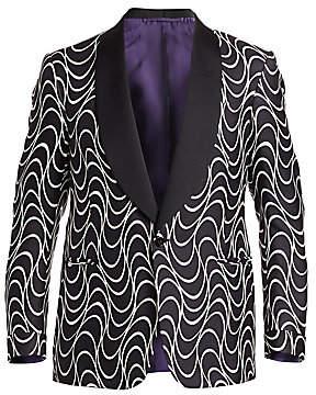 Ralph Lauren Purple Label Men's Optical-Print Silk One-Button Jacket