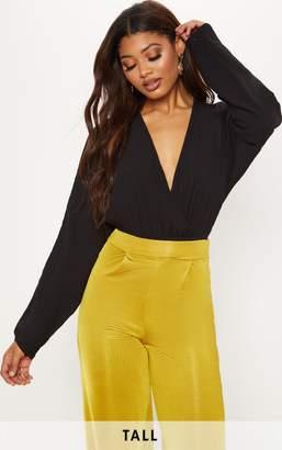 PrettyLittleThing Tall Black Plunge Long Sleeve Bodysuit d6c61abbb