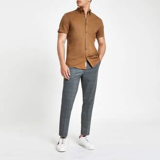 River Island Mens Brown linen short sleeve shirt