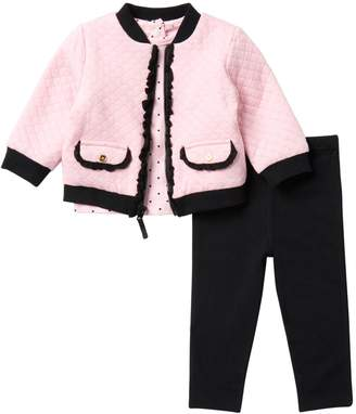 Little Me Quilted Jacket, Dot Top, & Legging Set (Baby Girls)
