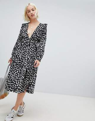 Glamorous long sleeve midi dress with flutter sleeves in smudge polka dot