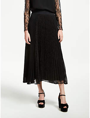 Marella Carpa Pleated Lace Skirt, Black