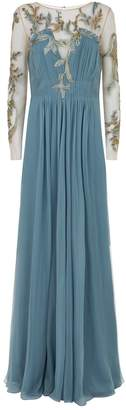 Alberta Ferretti Embroidered Silk Gown