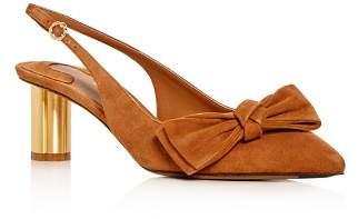 Salvatore Ferragamo Women's Aulla Suede Slingback Floral Heel Pumps