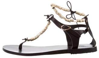 Ancient Greek Sandals Embellished Leather Sandals