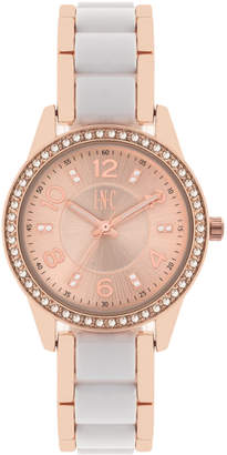 INC International Concepts I.N.C. Women's Rose Gold-Tone & White or Pink Acrylic Bracelet Watch 34mm, Created for Macy's