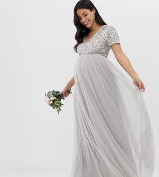 cfa761a99b1a1 Maya Maternity Bridesmaid v neck maxi tulle dress with tonal delicate  sequins in soft gray
