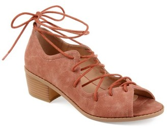 Brinley Co. Womens Faux Nubuck Ghille Lace-up Peep-toe Sandals