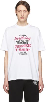 Vetements White Birthday T-Shirt