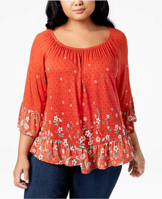 Style&Co. Style & Co Plus Size Printed Bell-Sleeve Tunic, Created for Macy's
