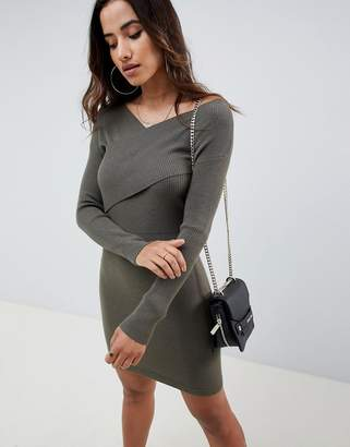 Asos Design DESIGN knitted dress with wrap front