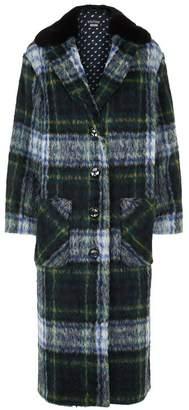 Moschino Fur Collar Tartan Coat