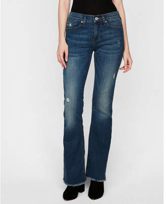 Express mid rise distressed stretch bootcut jeans