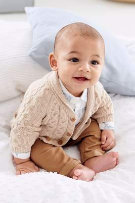Next Boys Oatmeal Cable Knit Cardigan (0mths-2yrs) - Natural