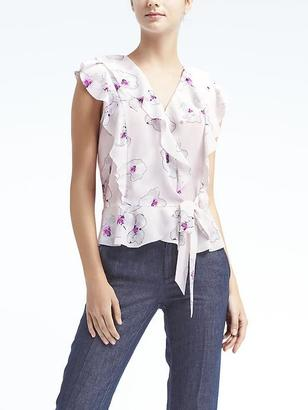 Easy Care Ruffle Wrap Top $78 thestylecure.com