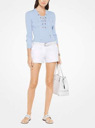 MICHAEL Michael Kors Ribbed Lace-Up Pullover