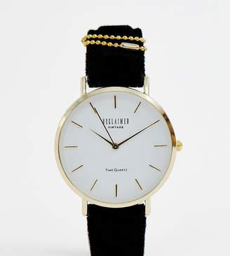 Reclaimed Vintage Inspired Velvet Strap Watch In Black Exclusive To ASOS