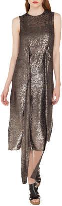 Akris Sleeveless Self-Belt A-Line Metallic Silk Dévoré Cocktail Dress