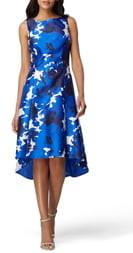 Tahari Sleeveless Printed Mikado High/Low Dress