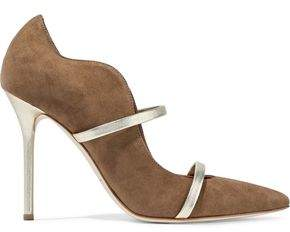 Malone Souliers Maureen Metallic Leather-Trimmed Suede Pumps