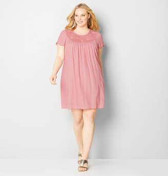 Avenue Crinkle Lace A-Line Dress