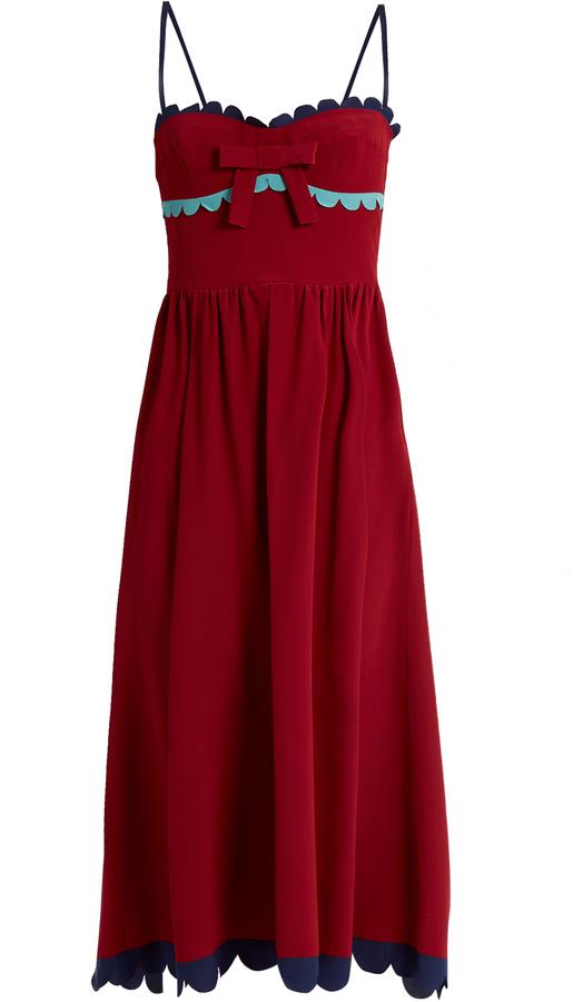 RED ValentinoREDVALENTINO Scallop-edged silk midi dress