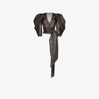 Alexandre Vauthier striped puffed sleeve waist bow top