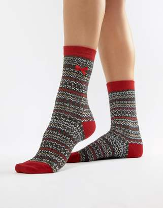 Pretty Polly Let It Snow Fairisle socks