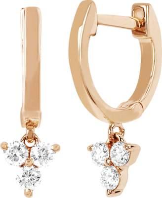 Ef Collection Diamond Trio Drop Huggie Earrings