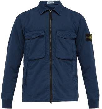 Stone Island Technical Garment Dyed Overshirt - Mens - Navy