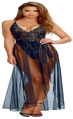 Dreamgirl Mosaic Lace Teddy and Sheer Skirt