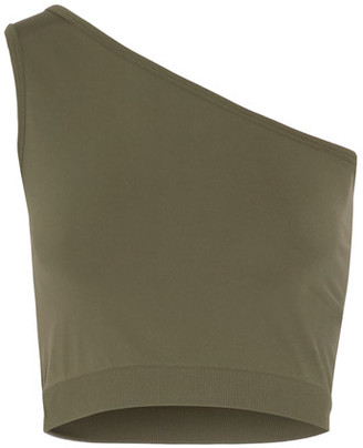 Helmut Lang - One-shoulder Cropped Stretch-jersey Top - Army green $90 thestylecure.com