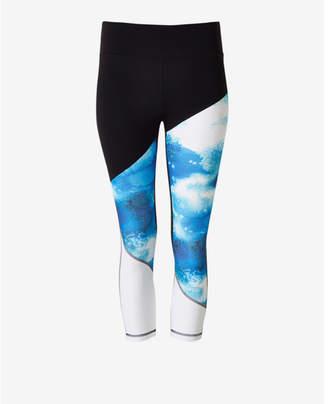 Express EXP core asymmetrical print cropped leggings