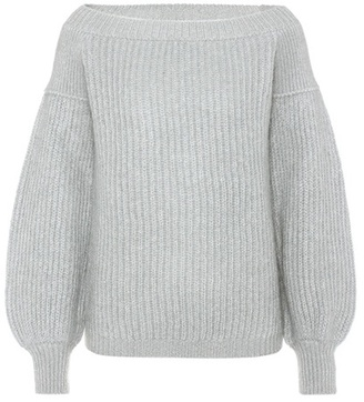 Mohair-blend off-the-shoulder sweater