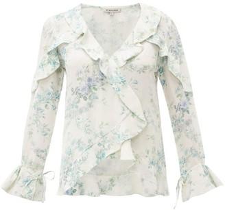 D'Ascoli Bedford Floral Print Ruffle Trim Silk Top - Womens - Blue