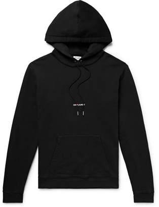 Saint Laurent Logo-Print Loopback Cotton-Jersey Hoodie