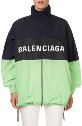 Balenciaga Colorblocked Zip-Front Logo Jacket