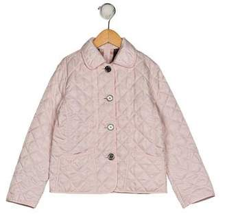 Burberry Girls' Quilted Long Sleeve Coat