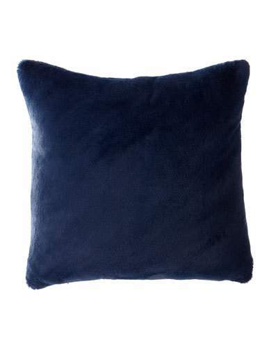 Dier Square Faux-Fur Pillow, Navy