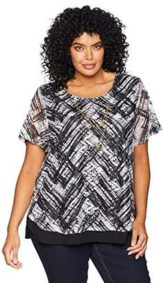 Alfred Dunner Women's Plus Size Abstract Lace Overlay Top
