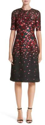 Lela Rose Holly Floral Matelasse A-Line Dress